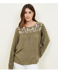 Apricot - Green Embroidered Babydoll Top - Lyst
