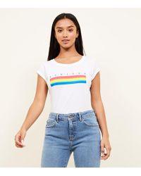 New Look - Petite White Rainbow Stripe Bonjour Slogan T-shirt - Lyst