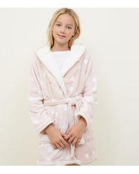 New Look - Girls Pink Spot Print Borg Robe - Lyst