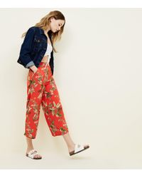 New Look - Red Tropical Cropped Trousers - Lyst