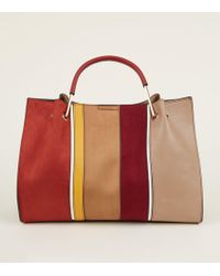 New Look - Red Stripe Front Metal Handle Tote Bag - Lyst