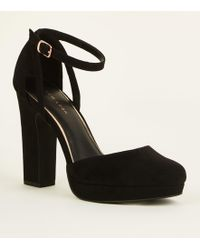 c887cc6c59a New Look Wide Fit Black Suedette Platform Heels in Black - Lyst