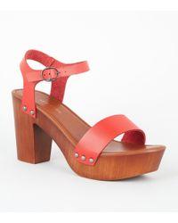 c8d880b5c99 Wide Fit Mustard Suedette Wood Heels. £26. New Look · New Look - Red 2 Part  Wood Platform Block Heels - Lyst