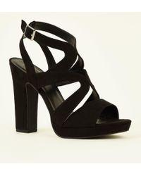ee6ea18f06 New Look Wide Fit Black Suedette Platform Heels in Black - Lyst