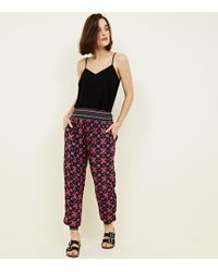 New Look - Blue Tile Print Cuffed Cheesecloth Joggers - Lyst