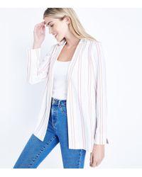 New Look - Pink Stripe Crepe Blazer - Lyst