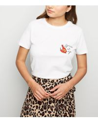 New Look - White Spice It Up Chilli Slogan T-shirt - Lyst