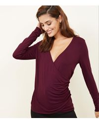 New Look - Burgundy Ruched Button Side Wrap Front Top - Lyst