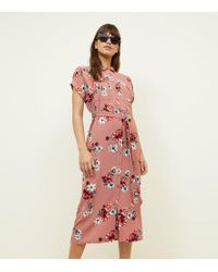 New Look - Pink Floral Belted Midi Shirt Dress - Lyst