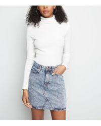 943534cae5 New Look - Pale Blue Acid Wash Denim Mini Skirt - Lyst