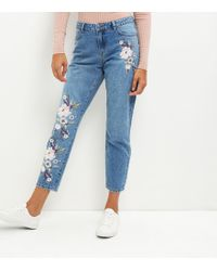 New Look - Blue Floral Embroidered Straight Leg Jeans - Lyst