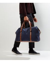 New Look - Navy Leather-look Panel Holdall - Lyst