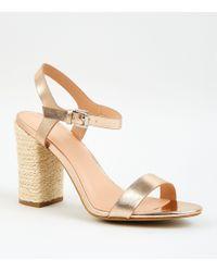 bc585c9d7d3f New Look - Rose Gold Leather-look Espadrille Block Heel Sandals - Lyst