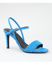 d3b8483835 New Look - Wide Fit Bright Blue Tube Strap Stiletto Sandals - Lyst