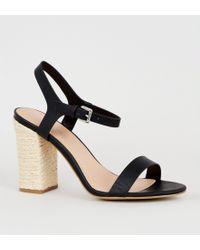 7aafbbbe89 New Look Wide Fit Black Suedette Block Heel Sandals in Black - Lyst