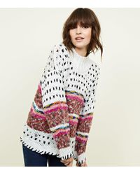 New Look - White Fairisle Multicoloured Knitted Jumper - Lyst