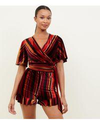 New Look - Black Multi Stripe Velvet Frill Shorts - Lyst