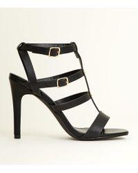 New Look - Black Stiletto Heel Gladiator Sandals - Lyst