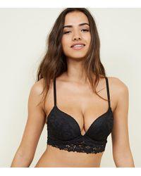 New Look - Black Mixed Lace Longline Bra - Lyst