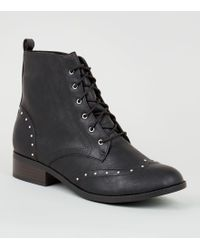 New Look - Black Leather-look Studded Brogue Boots - Lyst