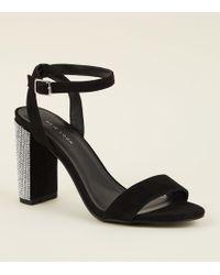 New Look - Black Suedette Diamanté Strap Block Heels - Lyst