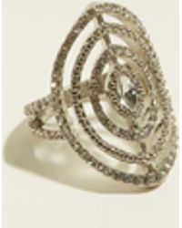 New Look - Re:born Silver Diamanté Cut Out Ring - Lyst