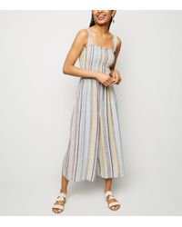 New Look - Petite Cream Stripe Shirred Jumpsuit - Lyst