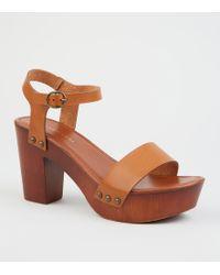 1607d60d9d0e New Look Wide Fit Khaki Suedette Wood Heel Sandals in Natural - Lyst