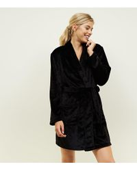 New Look - Black Get Up And Glow Fluffy Dressing Gown - Lyst