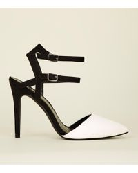 New Look - Wide Fit Monochrome Double Ankle Strap Stilettos - Lyst