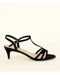 aabe61465f40 New Look - Wide Fit Black Comfort Flex Suedette Strappy Kitten Heels - Lyst