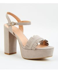 ed605333df0f New Look Wide Fit Grey Suedette Frill Front Block Heel Sandals in ...