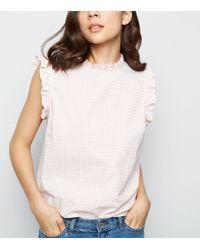 New Look - Pink Gingham Frill Trim Sleeveless Shirt - Lyst
