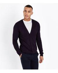 New Look - Navy Grey Fine Knit Cardigan - Lyst