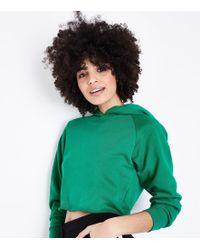 New Look - Green Raw Hem Cropped Hoodie - Lyst