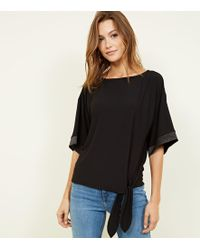 New Look - Black Satin Cuff Tie Front Top - Lyst