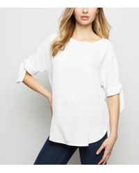 New Look - Off White Tie Sleeve Boxy T-shirt - Lyst