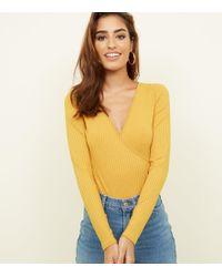 New Look - Mustard Ribbed Long Sleeve Wrap Bodysuit - Lyst a570d07c0