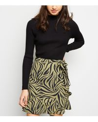 b9d4c69298 New Look - Khaki Zebra Print Asymmetric Frill Mini Skirt - Lyst