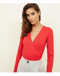 New Look - Red Ribbed Long Sleeve Wrap Bodysuit - Lyst 7a469b72e