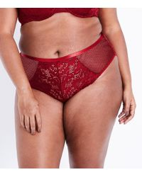 20df4aec31 Marks   Spencer Fishnet Isabella Lace Brazilian Knickers in Red - Lyst