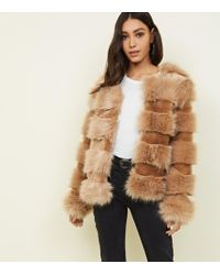 New Look - Camel Pelted Faux Fur Coat - Lyst