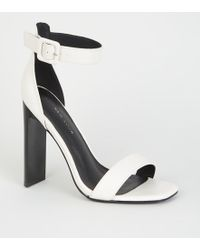 0c8cc17fe10 New Look Wide Fit White Low Block Heel Sandals in White - Lyst