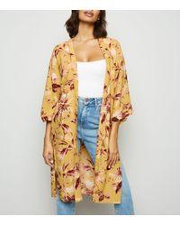 New Look - Mustard Tropical Print Kimono - Lyst