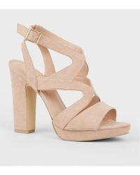 044f381ca767 New Look - Nude Suedette Strappy Platform Block Heels - Lyst