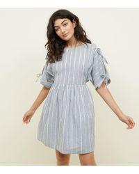 Apricot - Blue Pinstripe Tie Sleeve Mini Dress - Lyst