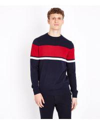 New Look | Navy Colour Block Stripe Jumper | Lyst