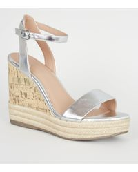 58db729a123 New Look - Silver Metallic Leather-look Espadrille Trim Cork Effect Wedges  - Lyst