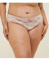 4ccf263ab6 New Look Curves White Lace And Fishnet Brazilian Briefs in White - Lyst