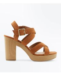 New Look - Tan Suedette Strappy Wooden Heel Sandals - Lyst